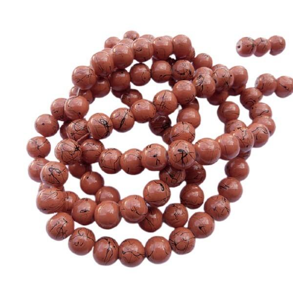 30 perles ronde en verre drawbench fabrication bijoux 8 mm MARRON ORANGE - Photo n°1