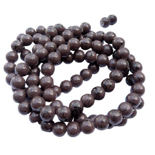 30 perles ronde en verre drawbench fabrication bijoux 8 mm MARRON FONCE - Photo n°1