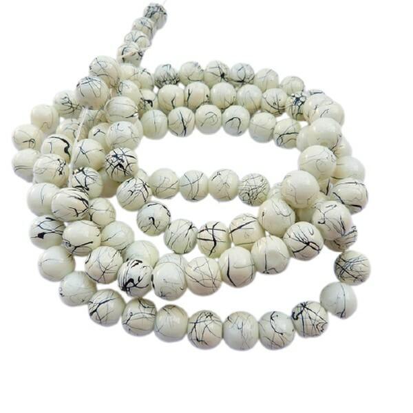 30 perles ronde en verre drawbench fabrication bijoux 8 mm JAUNE PALE - Photo n°1
