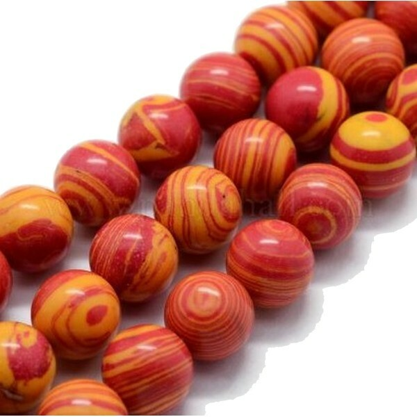 20 perles ronde Malachite synthétique fabrication bijoux 6 mm ORANGE - Photo n°1