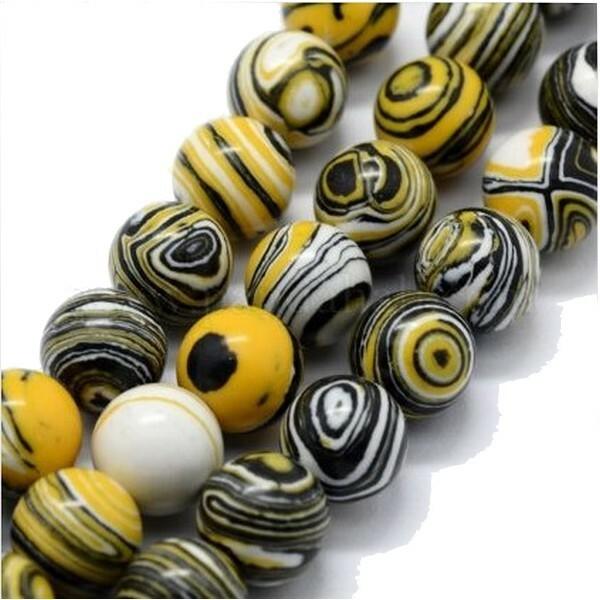 20 perles ronde Malachite synthétique fabrication bijoux 6 mm NOIR JAUNE BLANC - Photo n°1