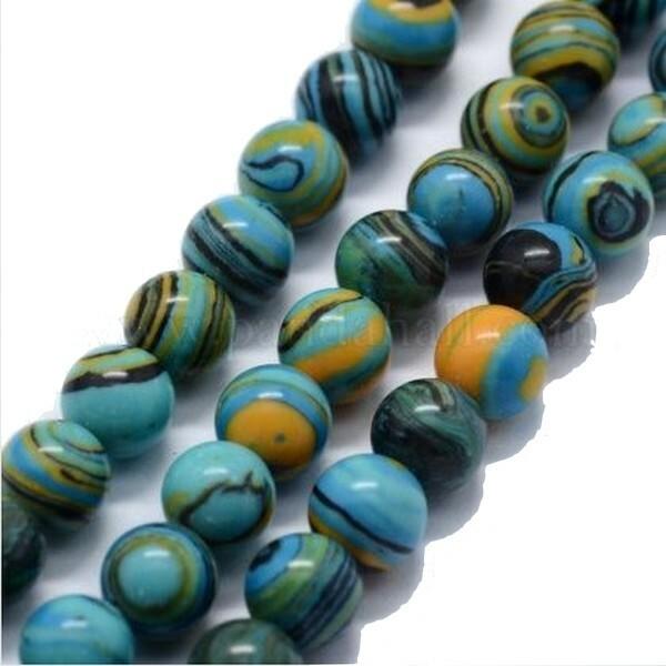 20 perles ronde Malachite synthétique fabrication bijoux 6 mm BLEU NOIR OCRE - Photo n°1