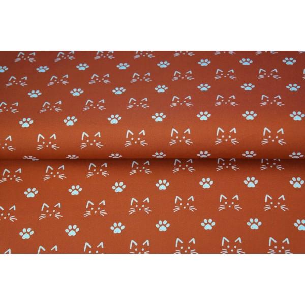 Coupon tissu STENZO popeline de coton - tête de chat blanc et rouille - 50x50cm - Photo n°1