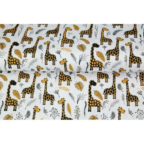 Coupon tissu STENZO popeline de coton - girafe et feuilles blanc, noir et moutarde  - 50x50cm - Photo n°1