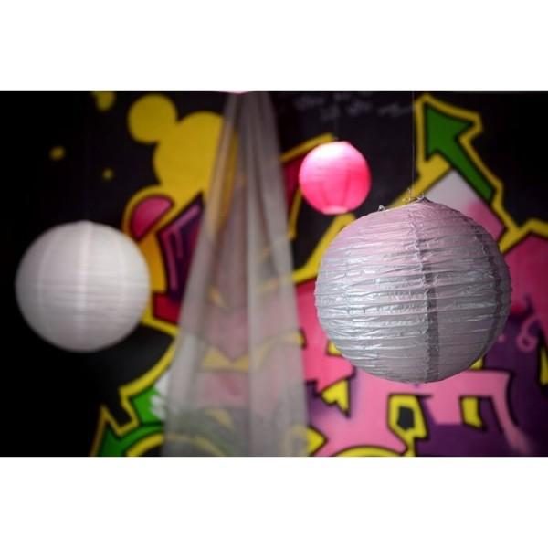 Lanterne Japonaise en Papier argenté, Boule chinoise de 35 cm - Photo n°2