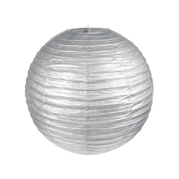 Lanterne Japonaise en Papier argenté, Boule chinoise de 35 cm - Photo n°1