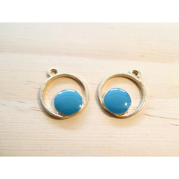 2 Breloques géométriques rondes 20*16mm doré et émail bleu - Photo n°1