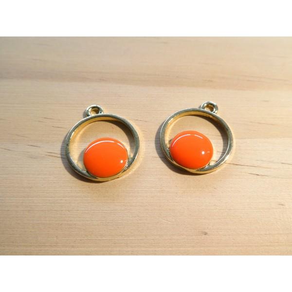 2 Breloques géométriques rondes 20*16mm doré et émail orange - Photo n°1