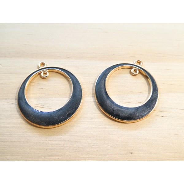 2 Pendentifs ronds avec 1 boucle 29*25mm doré et émail noir pailleté - Photo n°1