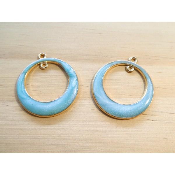 2 Pendentifs ronds avec 1 boucle 29*25mm doré et émail bleu pailleté - Photo n°1