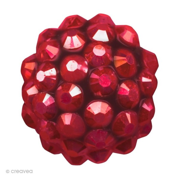 Perle Shamballa Strass Résine - 10 mm Rouge - Photo n°1