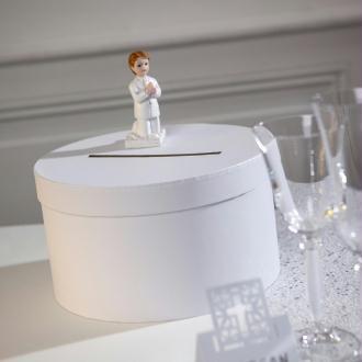 Urne de Mariage ronde en carton Blanc, Diam. 25 x haut. 14 cm