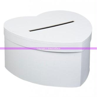 Urne de mariage, Tirelire Coeur blanc cartonné, 25 cm x 14 cm