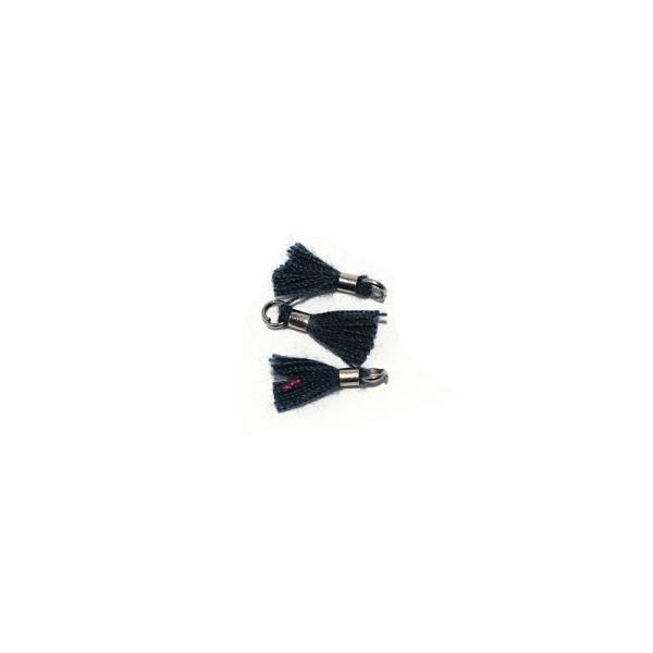 Mini pompon coton 10 mm vert pétrole - anneau - Photo n°1
