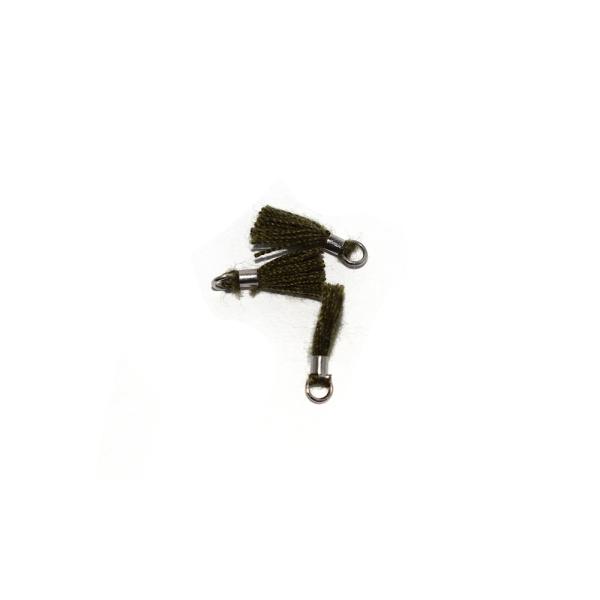 Mini pompon coton 10 mm kaki - anneau - Photo n°1
