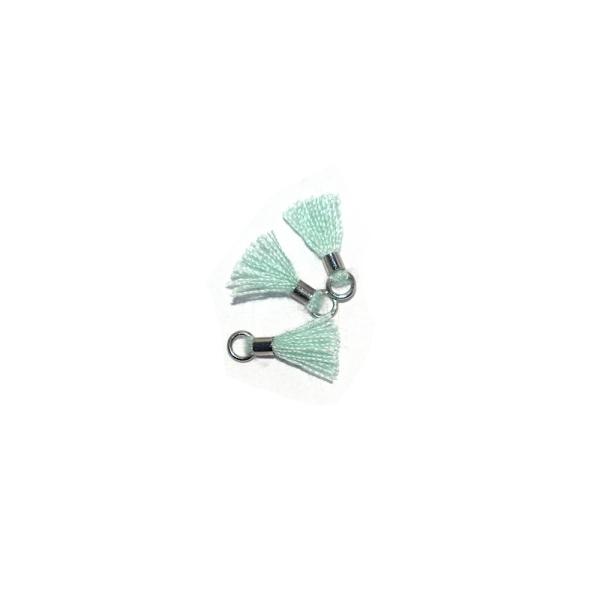 Mini pompon coton 10 mm vert menthe - anneau - Photo n°1