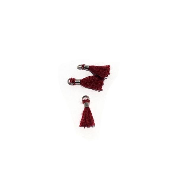 Mini pompon coton 10 mm bordeaux - anneau - Photo n°1
