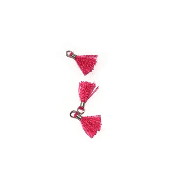 Mini pompon coton 10 mm fuchsia - anneau - Photo n°1