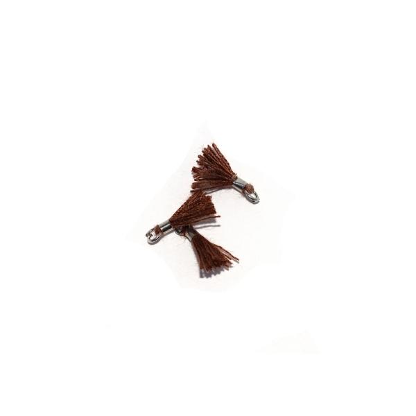 Mini pompon coton 10 mm marron - anneau - Photo n°1