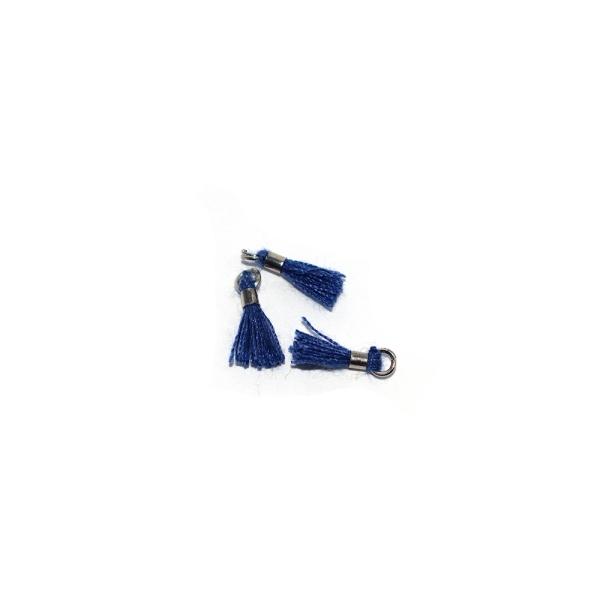 Mini pompon coton 10 mm bleu foncé - anneau - Photo n°1