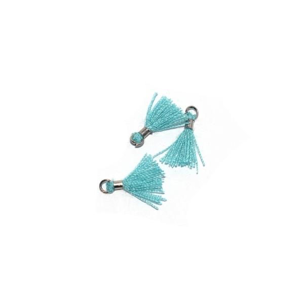 Mini pompon coton 10 mm bleu turquoise - anneau - Photo n°1