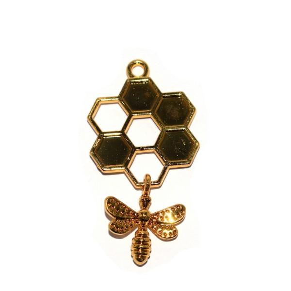 Pendentif alvéole et abeille métal doré 46x24 mm - Photo n°1