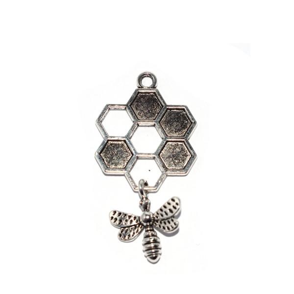 Pendentif alvéole et abeille métal argenté 46x24 mm - Photo n°1
