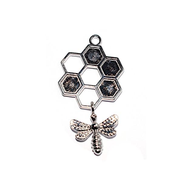 Pendentif alvéole et abeille métal argenté brillant 46x24 mm - Photo n°1