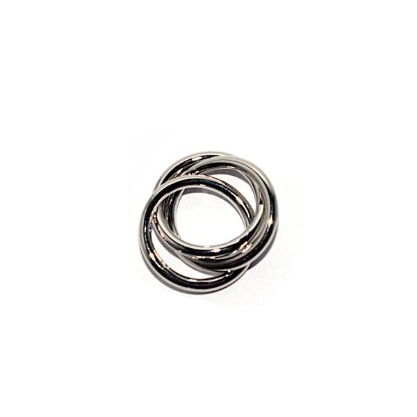 Pendentif anneaux entremélés 17 mm métal argenté - Photo n°1