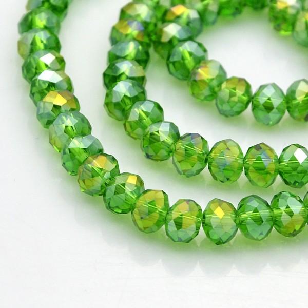 Perles en verre à facette 6 x 4 mm vert AB x 24 - Photo n°2