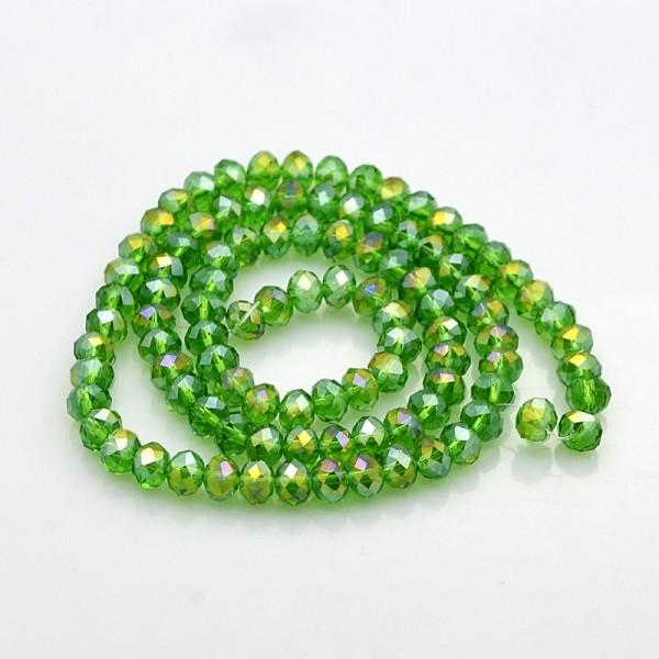 Perles en verre à facette 6 x 4 mm vert AB x 24 - Photo n°3