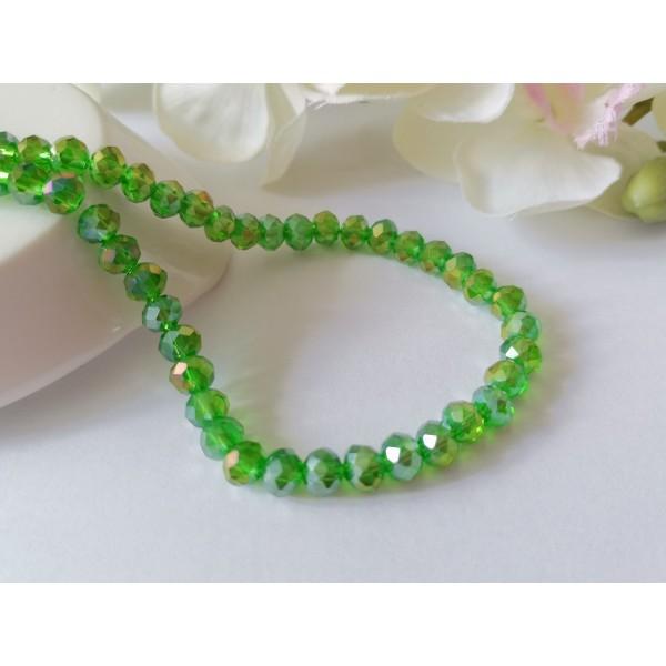 Perles en verre à facette 6 x 4 mm vert AB x 24 - Photo n°1
