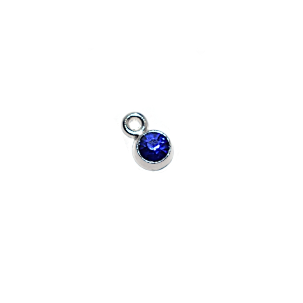 Breloque sertie strass bleu métal argenté 8x5 mm - Photo n°1