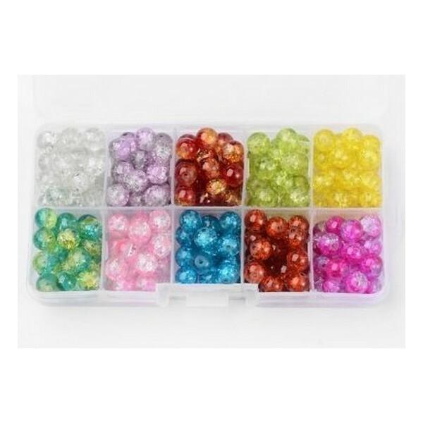 Boite de perles ronde en verre craquelé 6 mm Deux couleurs L3 3953 - Photo n°1