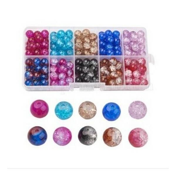 Boite de perles ronde en verre craquelé 6 mm Deux couleurs L3 3986 - Photo n°1