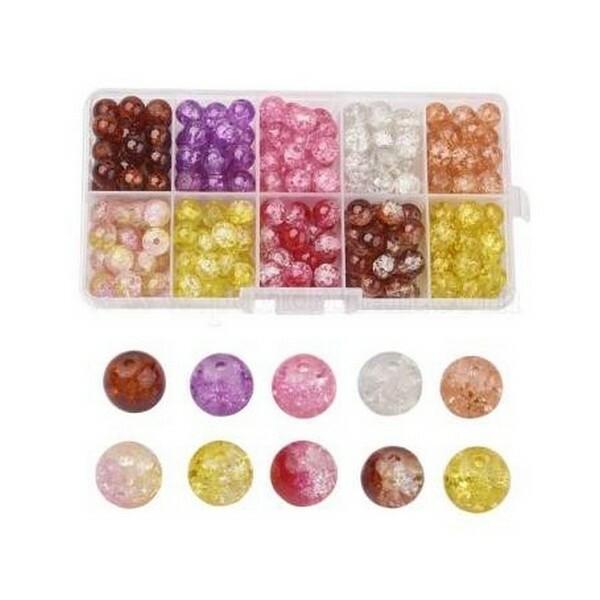Boite de perles ronde en verre craquelé 6 mm Deux couleurs L4 3986 - Photo n°1