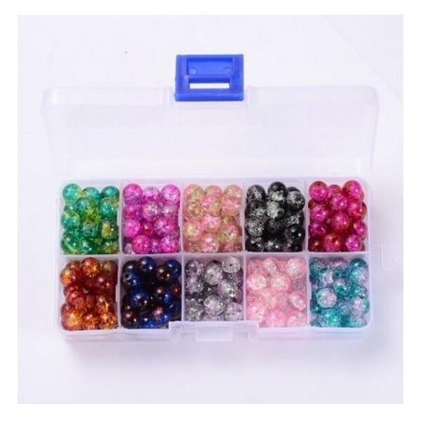 Boite de perles ronde en verre craquelé 6 mm Deux couleurs L4 3953 - Photo n°1