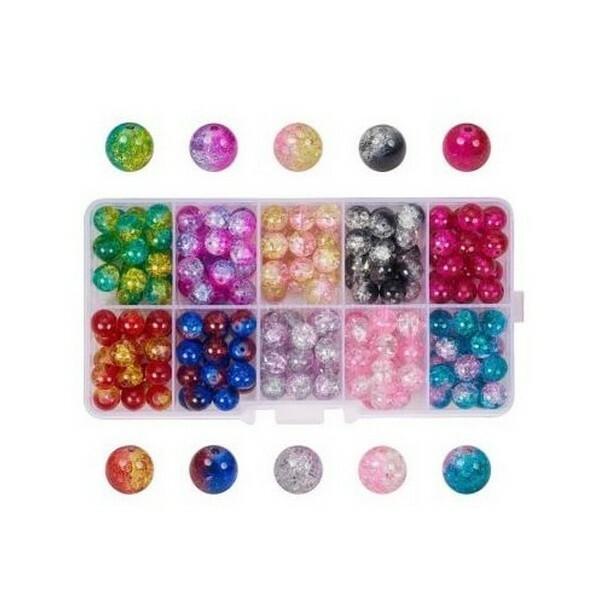 Boite de perles ronde en verre craquelé 8 mm Deux couleurs L4 4540 - Photo n°1