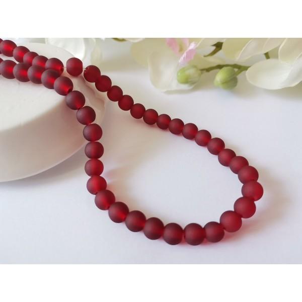 Perles en verre givré 6 mm rouge bordeaux x 25 - Photo n°1