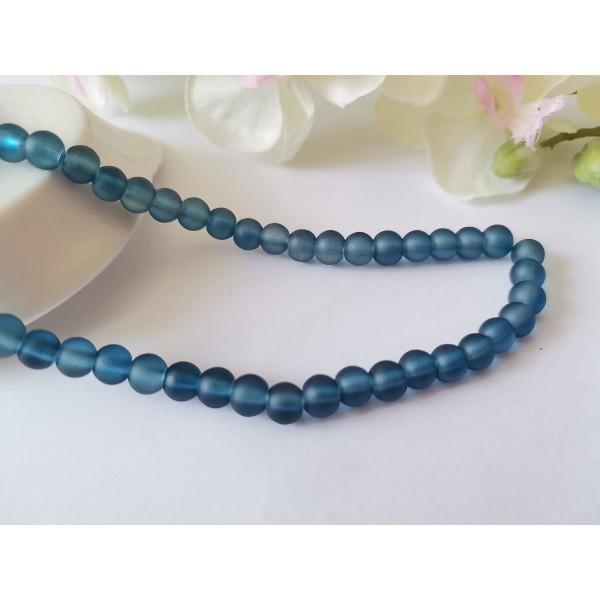 Perles en verre givré 6 mm bleu jean x 25 - Photo n°1