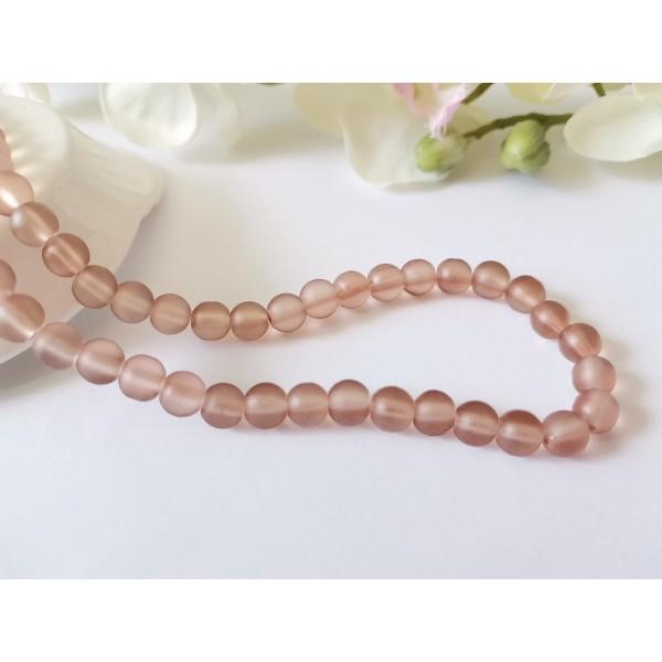 Perles en verre givré 6 mm marron clair x 25 - Photo n°1
