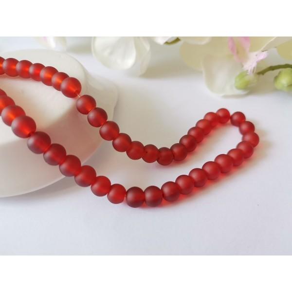 Perles en verre givré 6 mm rouge foncé x 25 - Photo n°1