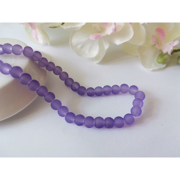 Perles en verre givré 6 mm lavande x 25 - Photo n°1
