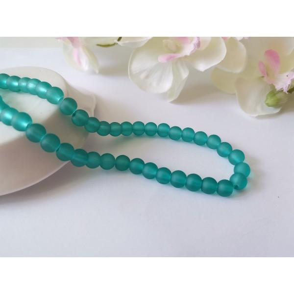 Perles en verre givré 6 mm turquoise x 25 - Photo n°1