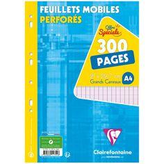 Feuilles mobiles perforées A4 - Grands carreaux - 300 pages