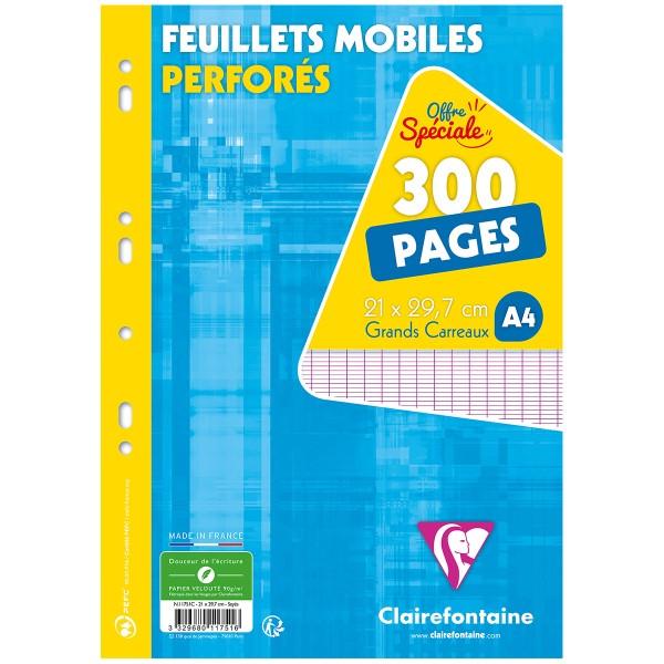 Feuilles mobiles perforées A4 - Grands carreaux - 300 pages - Photo n°1