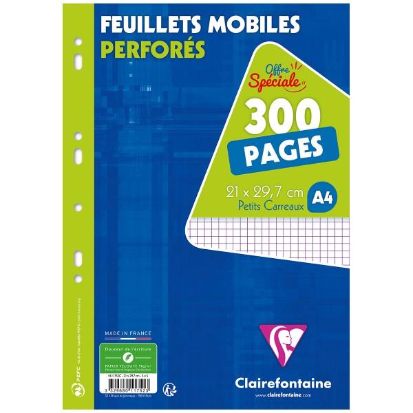Feuilles mobiles perforées A4 - Petits carreaux - 300 pages - Photo n°1