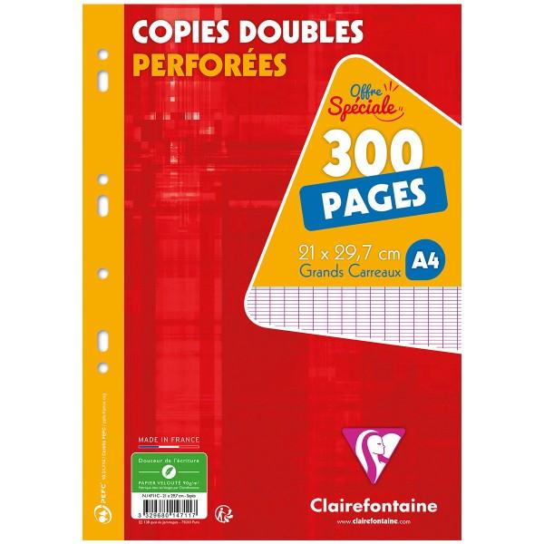 Copies doubles perforées A4 - Grands carreaux - 300 pages - Photo n°1