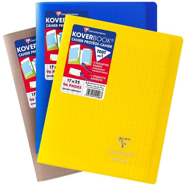 Cahier Koverbook Grands-carreaux avec protège-cahier intégré - 17 x 22 cm - 96 pages - Photo n°1
