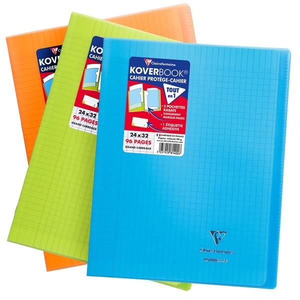 Cahier Koverbook Grands-carreaux avec protège-cahier intégré - 24 x 32 cm - 96 pages - Photo n°1